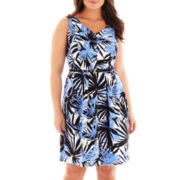 Danny & Nicole® Sleeveless Belted V-Neck Dress - Plus