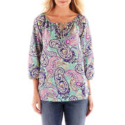 Liz Claiborne 3/4-Sleeve Peasant Blouse - Tall