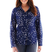 jcp™ Cotton/Silk Print Shirt - Plus