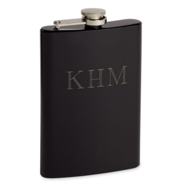 jcpenney.com | Black Stainless Steel Personalized Hip Flask w/ Funnel