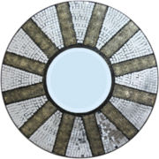 Mosaic Tiled Sunburst Round Wall Mirror