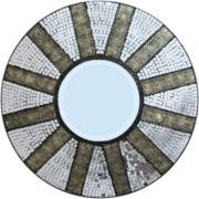 Mosaic Tiled Sunburst Round Wall Mirror