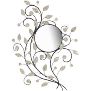 Round Wall Mirror With Metal Vines