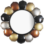 Round Wall Mirror with Metal Shapes