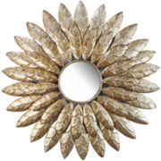 Metal Feathers Round Wall Mirror