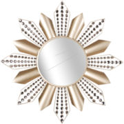 Faux-Crystal Starburst Round Wall Mirror