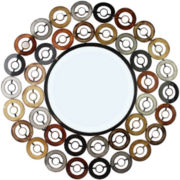 Round Wall Mirror with Multicolor Design