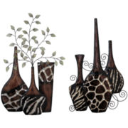 Set of 2 Faux Animal Print Vases Wall Decor