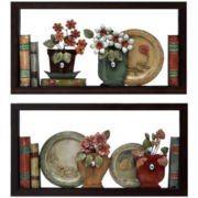Set of 2 Faux Bookshelves Wall Decor
