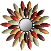 Metallic Petal Round Wall Mirror