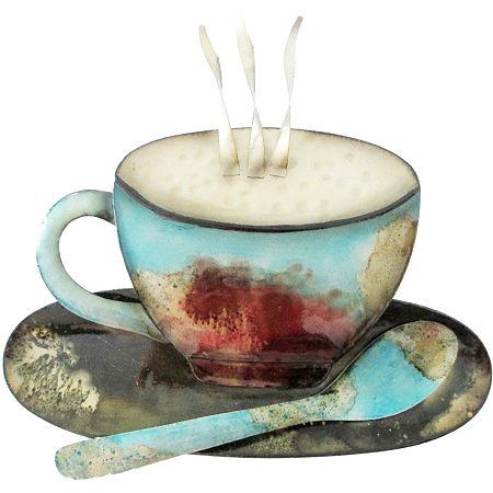 Coffee Cup, Dish and Spoon Metal Wall Decor