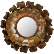 Lotus Flower Round Wall Mirror