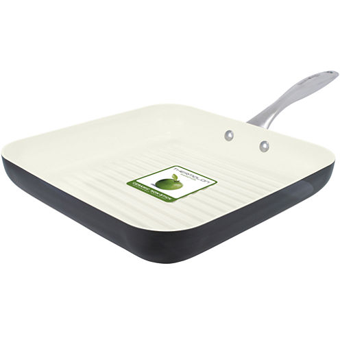 """GreenPan™ Lima I Love Cooking 11"""" Ceramic Square Grill Pan for Meat and Poultry"""