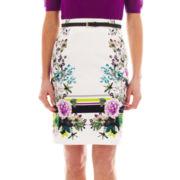 Worthington® Belted High-Waist Sateen Pencil Skirt