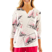 Alfred Dunner® Letters From Paris Postcard Print Knit Top - Petite