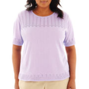 Alfred Dunner Provence Short-Sleeve Pointelle-Yoke Sweater - Plus