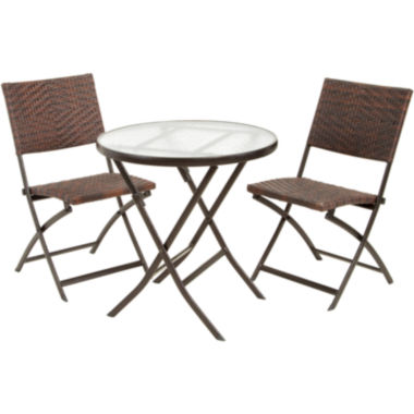 jcpenney.com | Caracas 3-pc. Wicker Outdoor Folding Table and Chair Set
