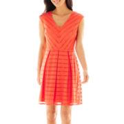 Studio 1® Sleeveless V-Neck Eyelet Dress