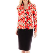 Le Suit® 3 Button Notch Collar Jacket and Solid Skirt