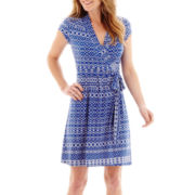 Liz Claiborne® Short-Sleeve Print Belted Wrap Dress