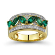 Lab-Created Emerald and White Sapphire Marquise Ring