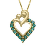 Lab-Created Emerald Mom Pendant Necklace