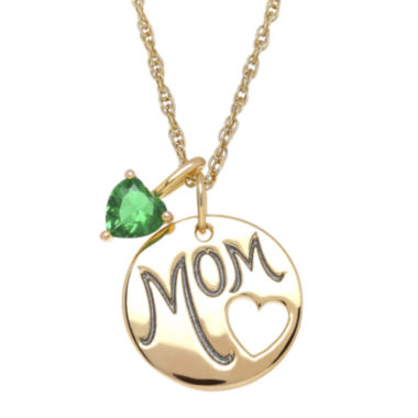 jcpenney.com | Simulated Emerald Mom Heart Charm Pendant Necklace