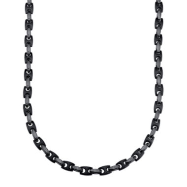 jcpenney.com | Mens Stainless Steel and Black IP H-Link Chain Necklace