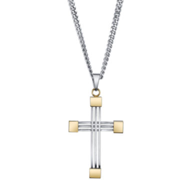 jcpenney.com | Mens Stainless Steel and Yellow IP Cross Pendant Necklace