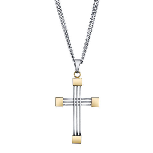 Mens Stainless Steel and Yellow IP Cross Pendant Necklace