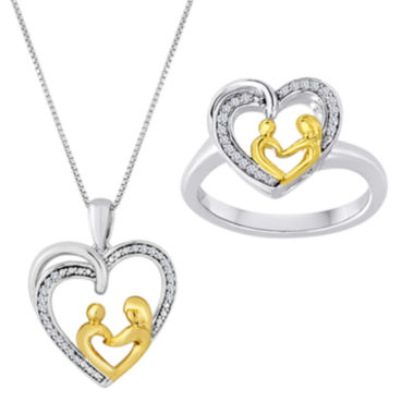 jcpenney.com | 1/10 CT. T.W. Diamond Mom Heart Two-Tone Ring and Pendant Necklace Set