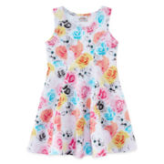 Knit Works Floral and Cat-Print Dress – Preschool Girls 4-6x