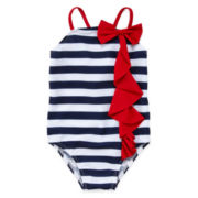 Striped Ruffle Swimsuit – Preschool Girls 4-6x