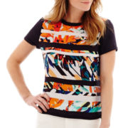 Liz Claiborne® Short-Sleeve Tropical Print Striped Blouse