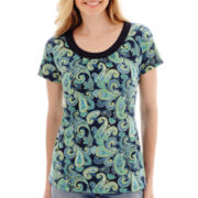 St. John's Bay® Short-Sleeve Paisley Print Scoopneck Top