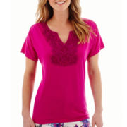 St. John's Bay® Short-Sleeve Crochet Lace-Trim Top