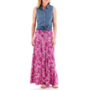 St. John's Bay® Sleeveless Button-Front Shirt or Tiered Maxi Skirt