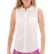 St. John's Bay® Sleeveless Button-Front Shirt - Tall