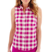 St. John's Bay® Sleeveless Button-Front Shirt - Petite