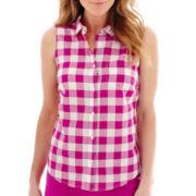 St. John's Bay® Sleeveless Button-Front Shirt - Petite