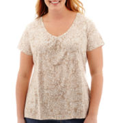 St. John's Bay® Short-Sleeve Shirred V-Neck Top - Plus