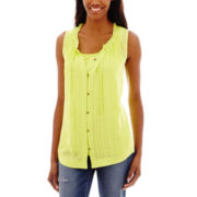 a.n.a® Sleeveless Ruffle-Neck Button-Front Peasant Top