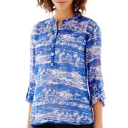 a.n.a® 3/4-Sleeve Roll-Tab Pleated Mandarin Collar Blouse - Petite