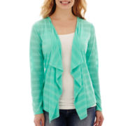 Liz Claiborne® Sheer Striped V-Neck Cardigan