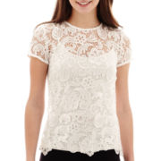 Bisou Bisou® Short-Sleeve Lace Top