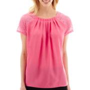 Worthington® Short-Sleeve Lace-Trim Top - Petite