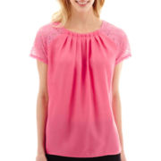 Worthington® Short-Sleeve Lace-Trim Top