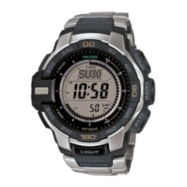 jcpenney.com | Casio® ProTrek Mens Stainless Steel Strap Solar Chronograph Watch PRG270D-7CR