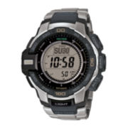 Casio® ProTrek Mens Stainless Steel Strap Solar Chronograph Watch