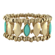 nicole by Nicole Miller® Gold-Tone & Simulated Turquoise Navette Bracelet